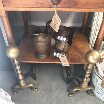 Delft Mini Brass Coal Scuttle $30  Brass Pitcher $20  Brass Andirons $75