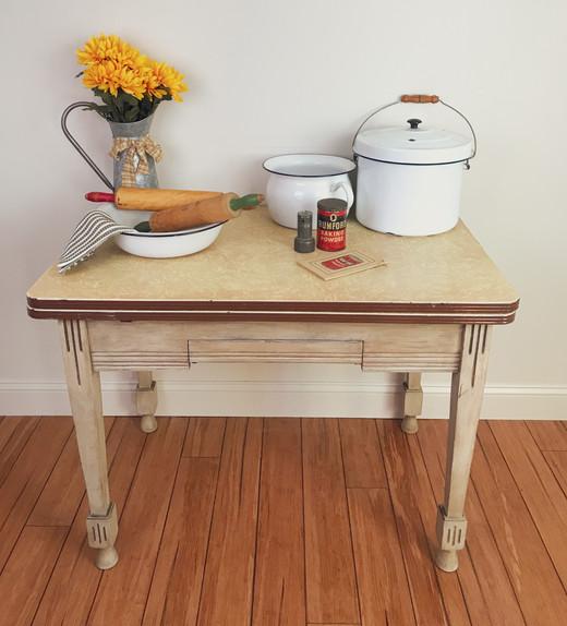 Vintage 1940's Enamel Top Table $150