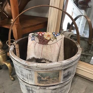 Antique Wooden Bucket w/ Handle $45
