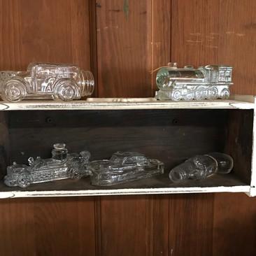 Antique Glass Bottle Figures - Car, Boat, Firetruck, Gun and Train $20