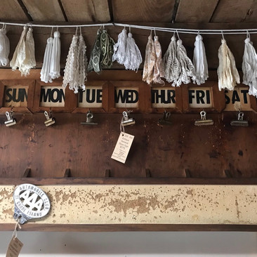 Antique Days of the Week Sign, Cork Board $175