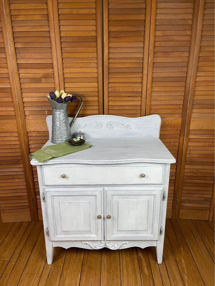 Vintage Commode Cabinet in Linen White - $125