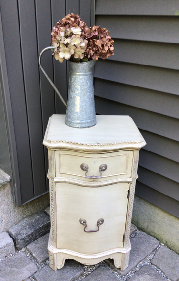 Antique Mahogany Side Table in Alabaster - $75
