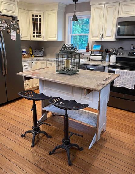 Chippy White Rustic Kitchen Island/Bar - $350