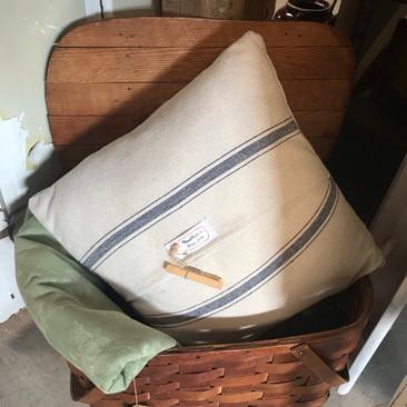 Handmade Grain Sack Pillow $25