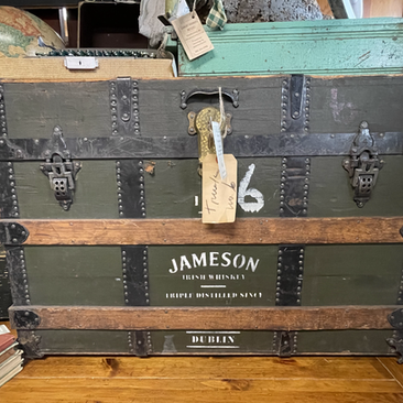 Antique Flat Top Trunk with Jameson Label (SOLD)