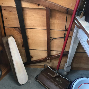 Antique Carpet Sweeper $25 Vintage Tabletop Ironing Board $12 Antique Bow Saw $30