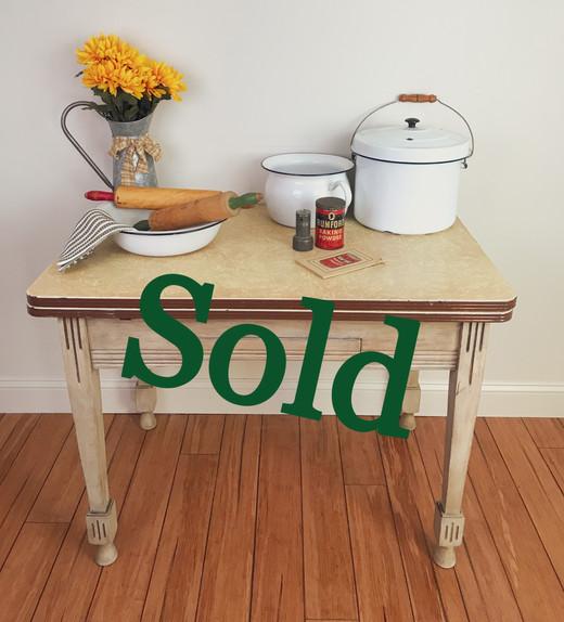 Vintage Enamel Top Table (SOLD)
