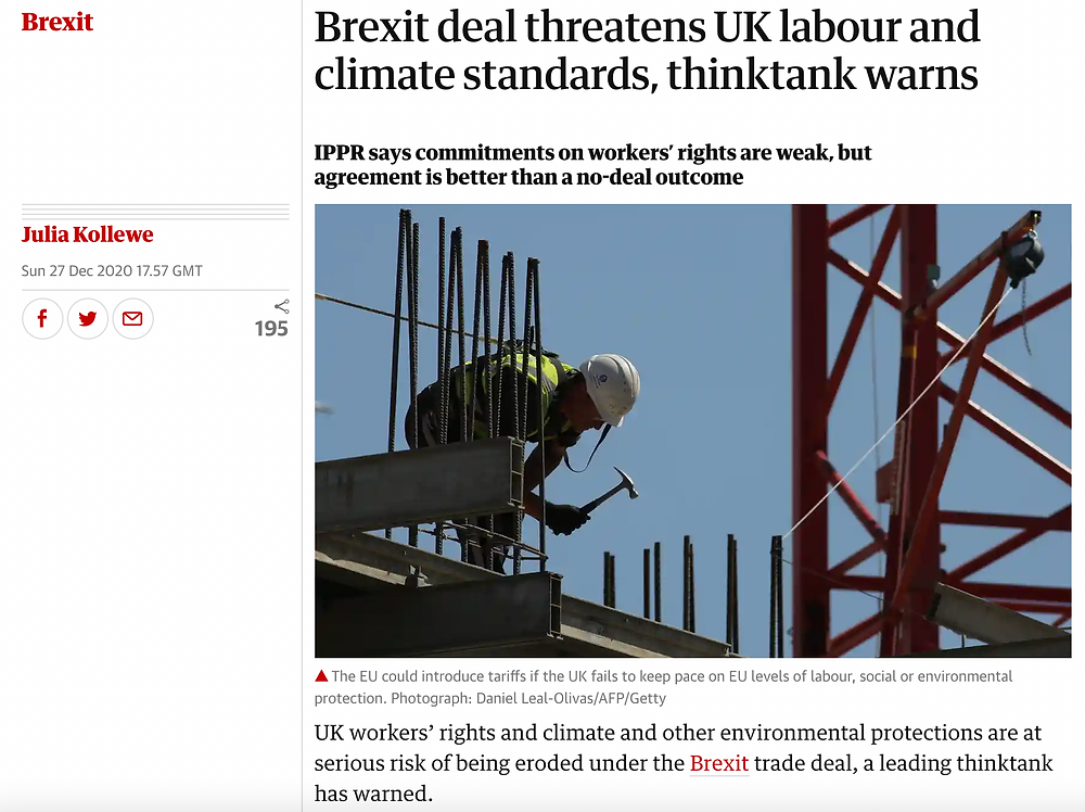The Guardian: Brexit deal threatens UK labour and climate standards, thinktank warns