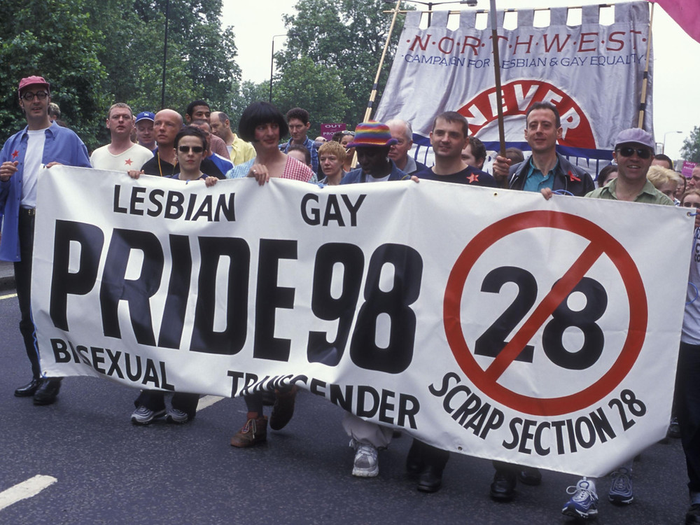 Protest against Section 28 banning LGBTQ+ education in schools