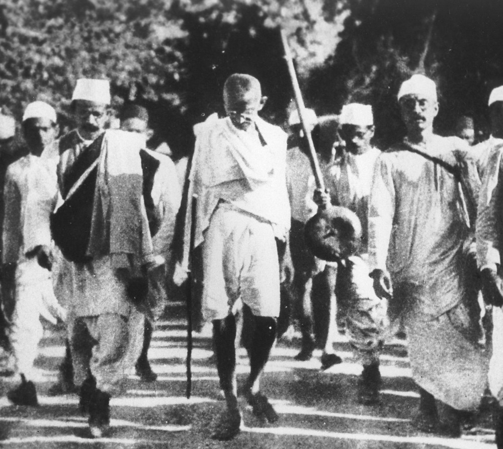 Mahatma Ghandi's Salt March in 1930, protest as part of Indian Independence movement
