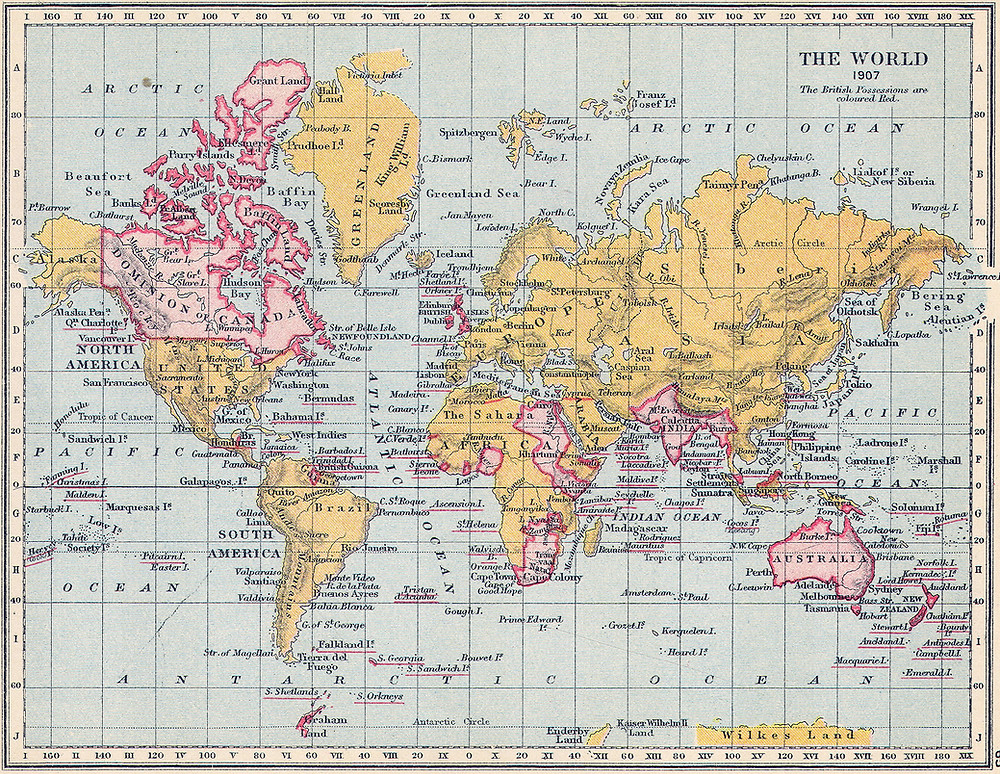 The British Empire's colonies in 1907, the spread of English as the dominant language
