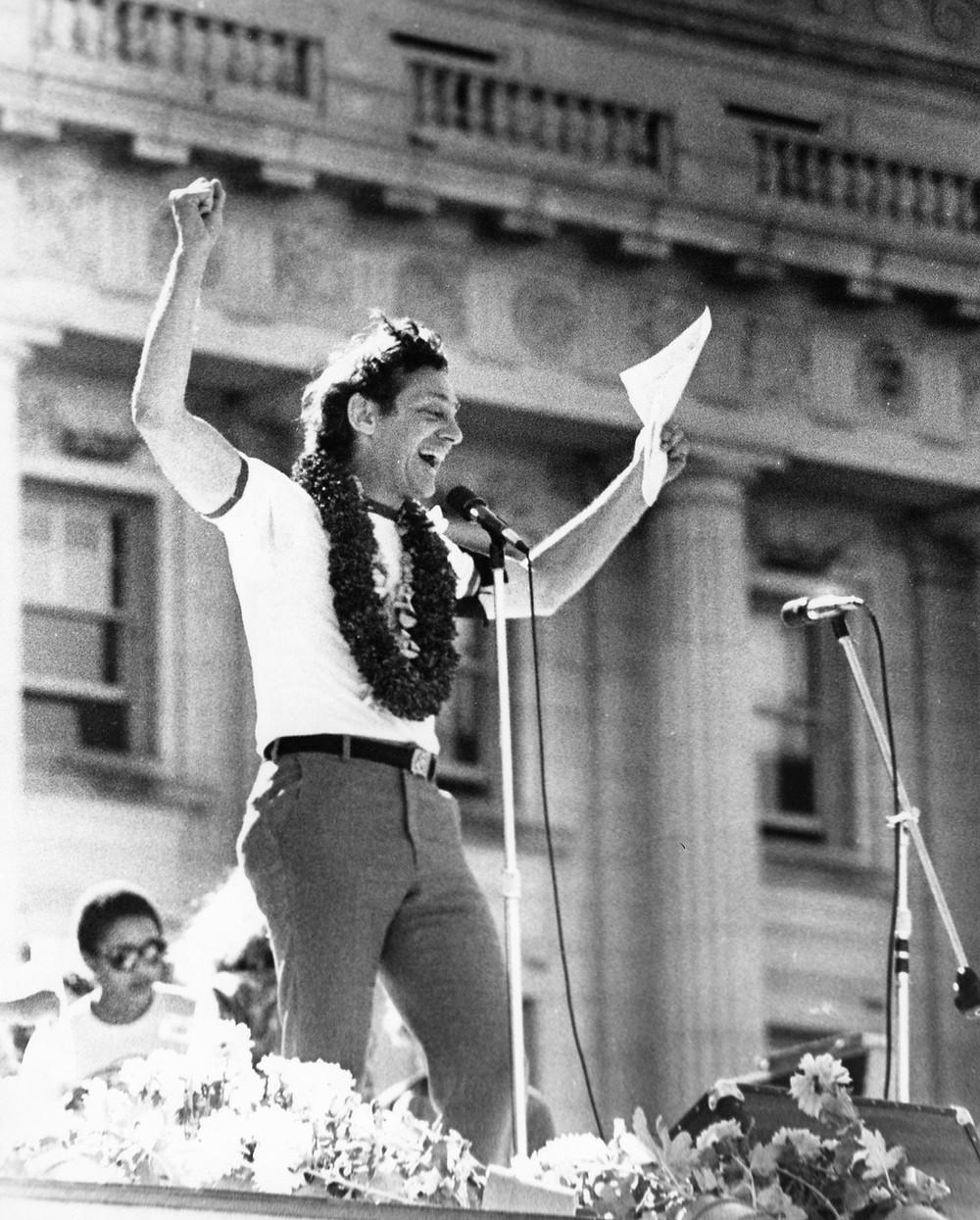 Gay rights activist and politician Harvey Milk