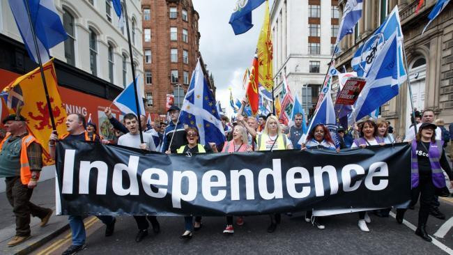 Supporters of Scottish independence at a rally