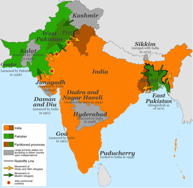 Map of Indian Partition after the Independence Act of 1957