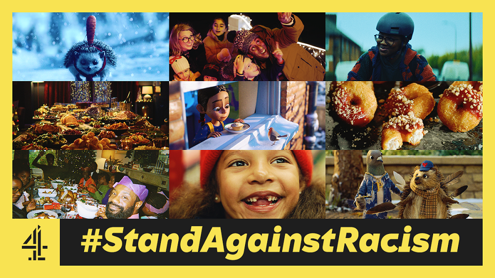 #StandAgainstRacism advert by Channel 4 and British food retailers in response to racist comments on the Sainsburys Christmas Advert