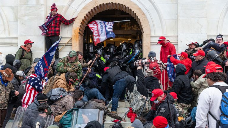 Trump supporters invade Capitol Hill in Washington in a terrorist attack on American democracy