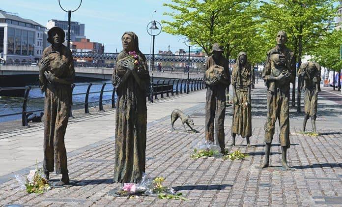 The Irish Potato Famine memorial in Dublin