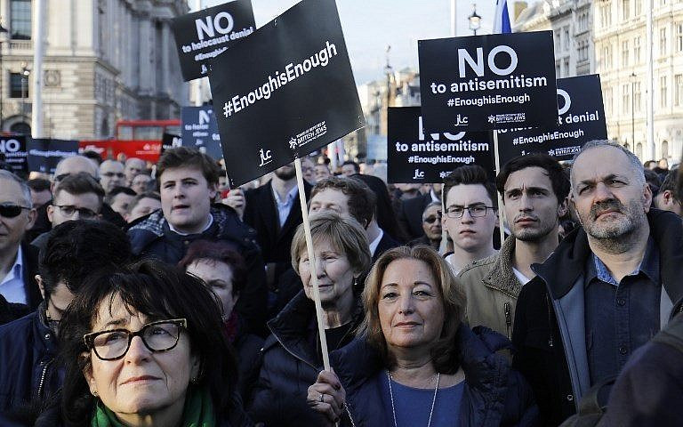 British Jews protest against antisemitism in the Labour Party in March 2018