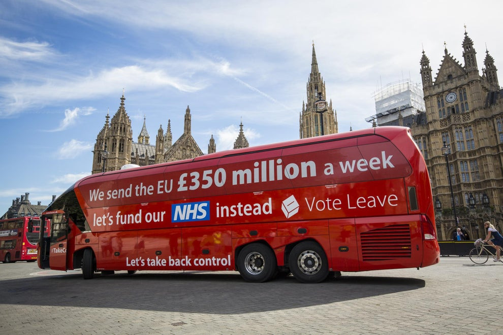 Vote Leave's controversial Brexit bus promising £350 million a week to the NHS if the UK left the EU