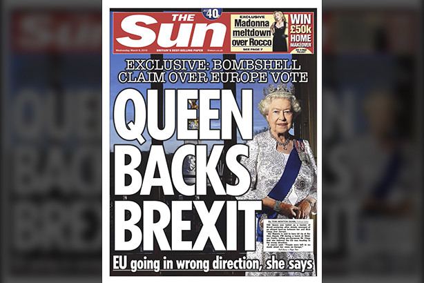 Sensationalist headline 'Queen Backs Brexit' used by tabloids during the Brexit campaign