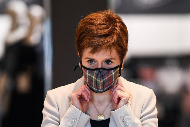 Nicola Sturgeon wearing a face mask during the Covid-19 pandemic, campaigning for Scottish independence