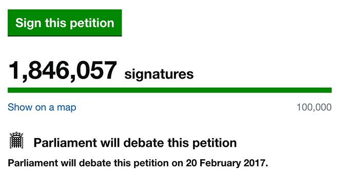Petition debated in parliament