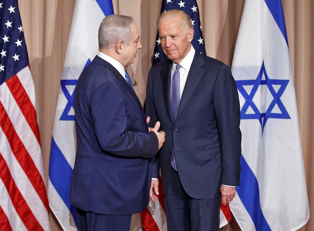 Joe Biden with former Israeli PM Benjamin Netanyahu
