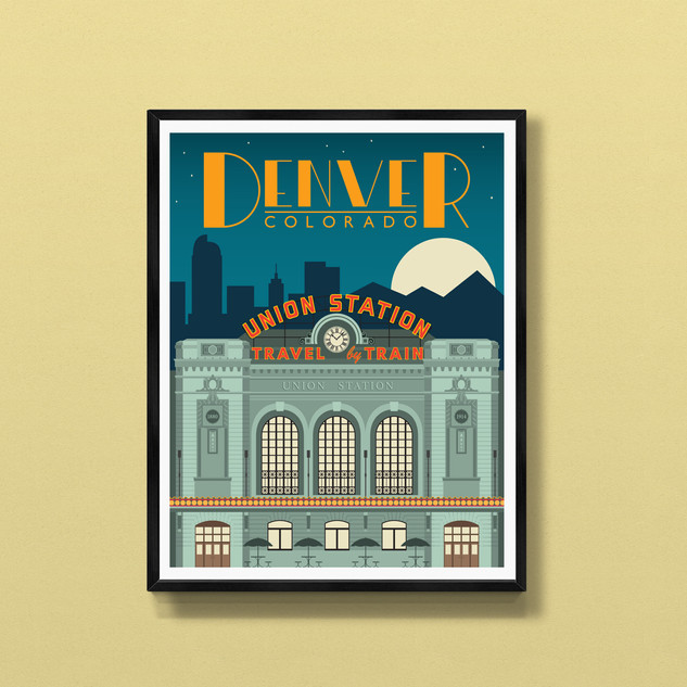 union station denver colorado art print