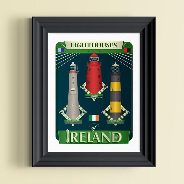 irish lighthouses art print