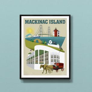 Mackinac Island art print poster Michigan wall decor