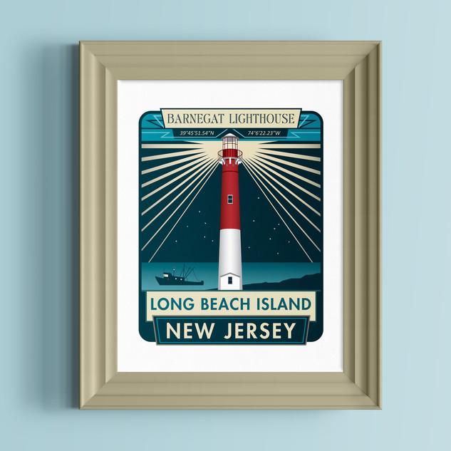 barnegat lighthouse new jersey art print