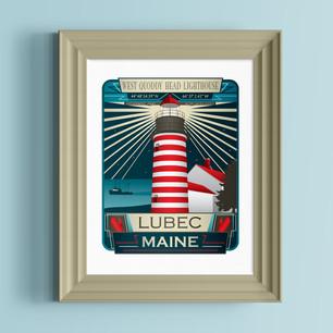 west quoddy head lighthouse lubec maine art print