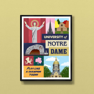 notre dame university fighting irish art print