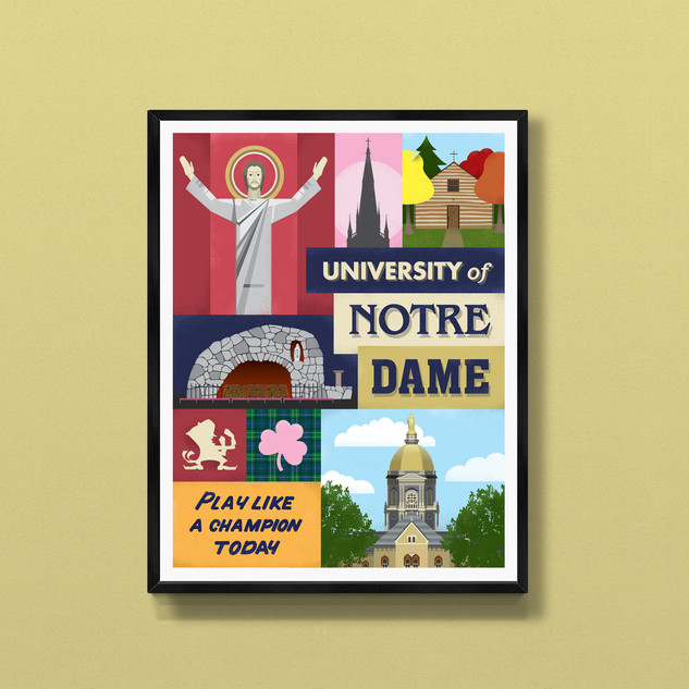 notre dame university fighting irish art print