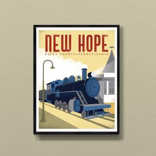 new hope bucks county art print poster wall decor