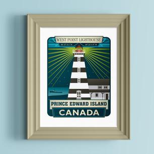 west point lighthouse prince edward island art print