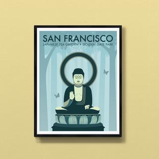 buddha san fransisco art print poster