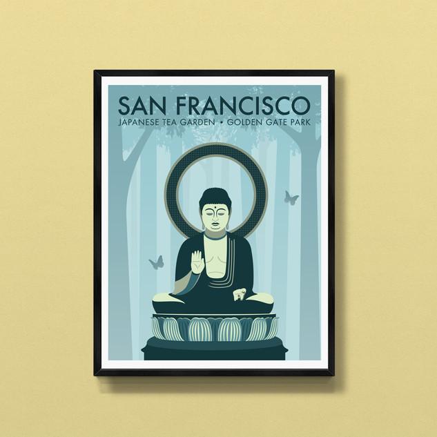 buddha japanese gardens san fransisco art print poster