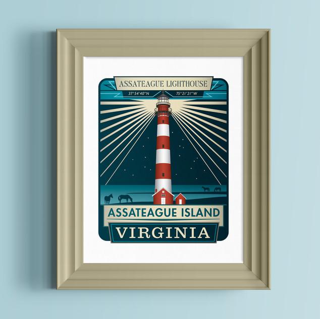 assateague lighthouse virginia art print