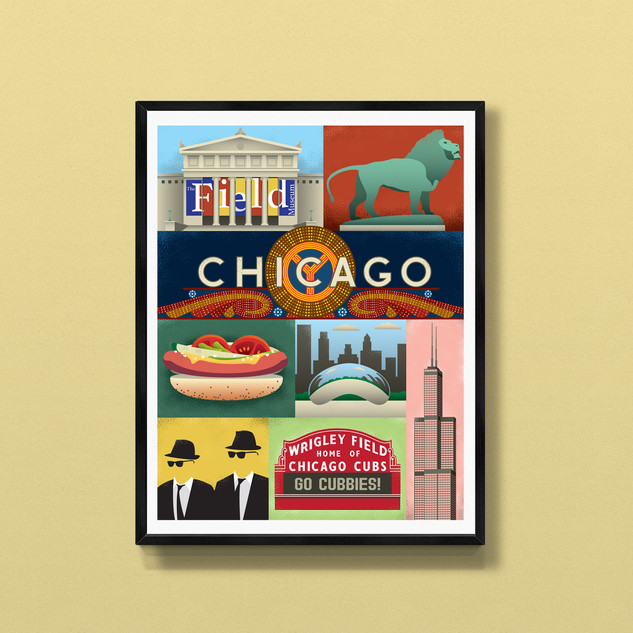 chicago art print poster