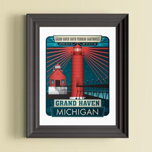 grandhaven lighthouse michigan art print