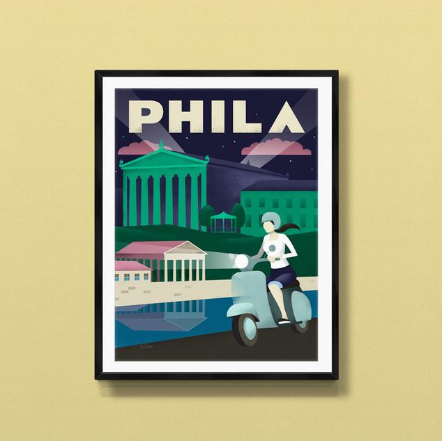 philadelphia art museum art print poster