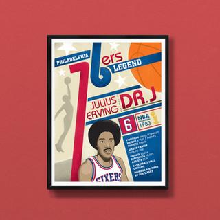 Dr J Philadelphia sixers art print