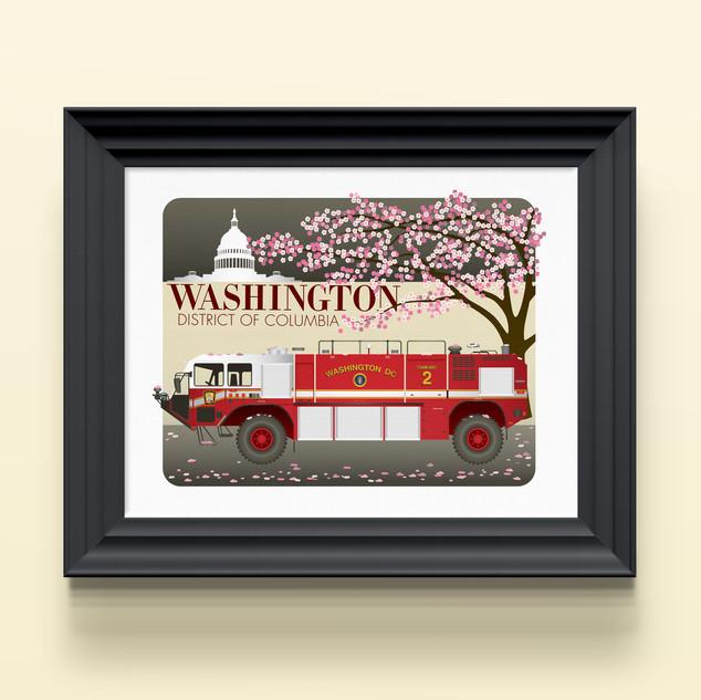 washington dc firetruck art print