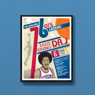 Dr J Julius Erving Philadelphia Sixers art print