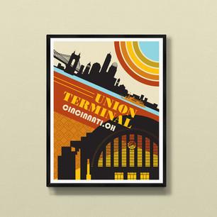 Union Terminal art print poster Cincinnati Ohio