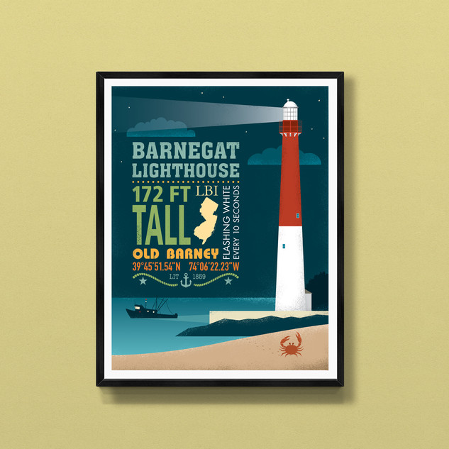 barnegat lighthouse long beach island art print