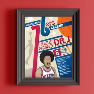 76ers dr. j philadelphia art print