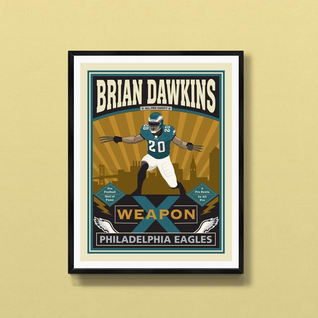 brian dawkins philadelphia eagles art print poster